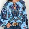 S-5XL Women Bohemian Clothing Blouse Shirt Vintage Floral Print Tops Ladies Blouses Blusa Feminina Plus size 3