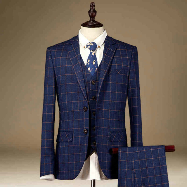 Aliexpress.com : Buy Plaid Gentleman Style Custom Made Men's suits ...