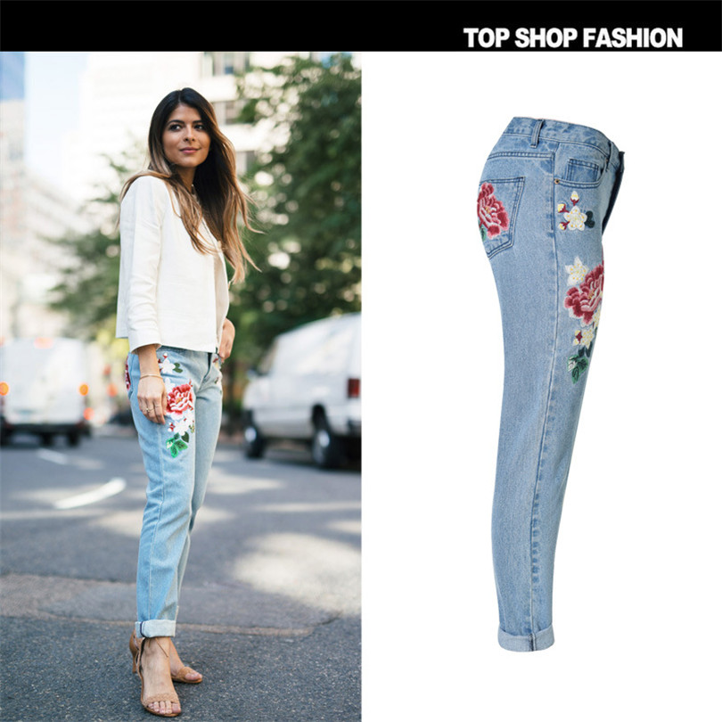 3D pastoral embroidery ladies rose Loose Jeans 2