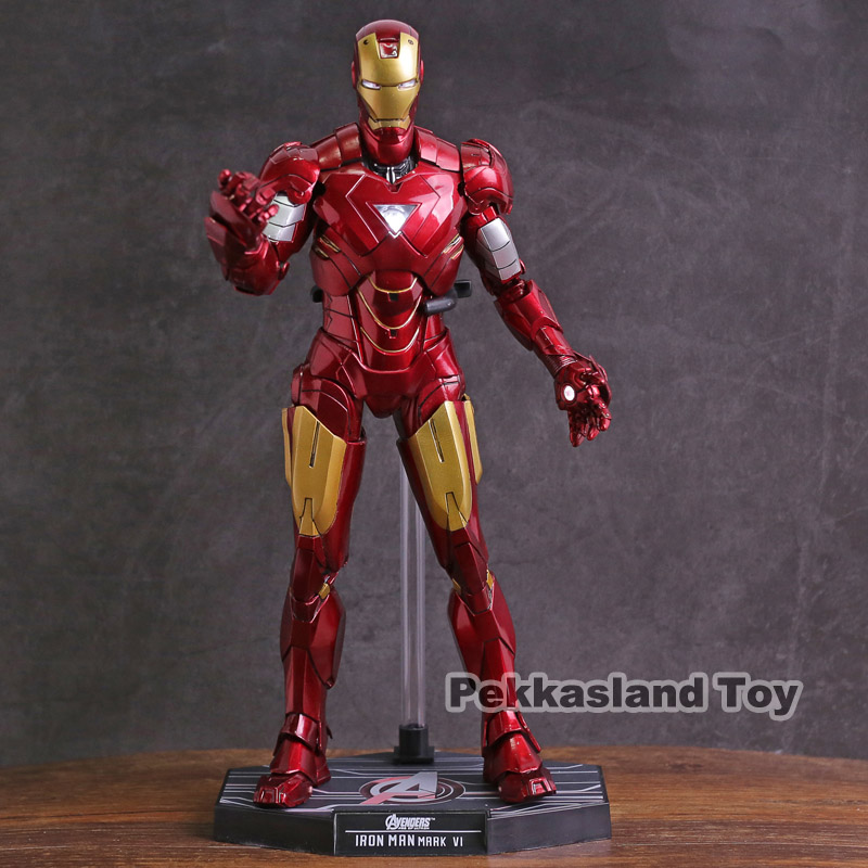 Hot Toys Iron Man Mark VI MK 6 with LED Light 1 6 Scale PVC Action