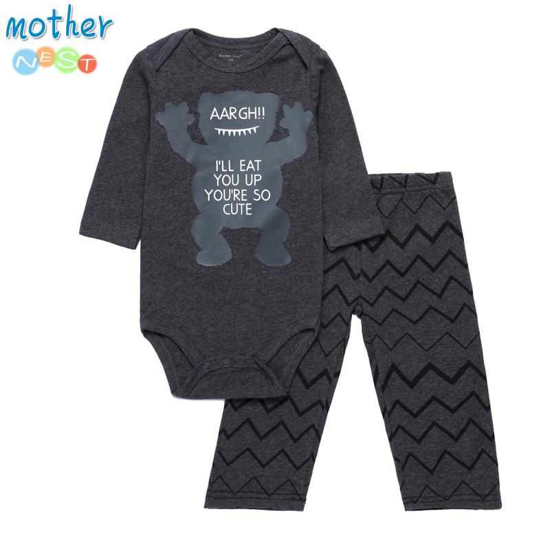 Mother Nest 2018 Fashion Baby Boy Clothes Set 2 Pcs Autumn Summer Casual Cartoon Style Baby Clothes Long Sleeves Baby Sets in Clothing Sets from Mother Kids