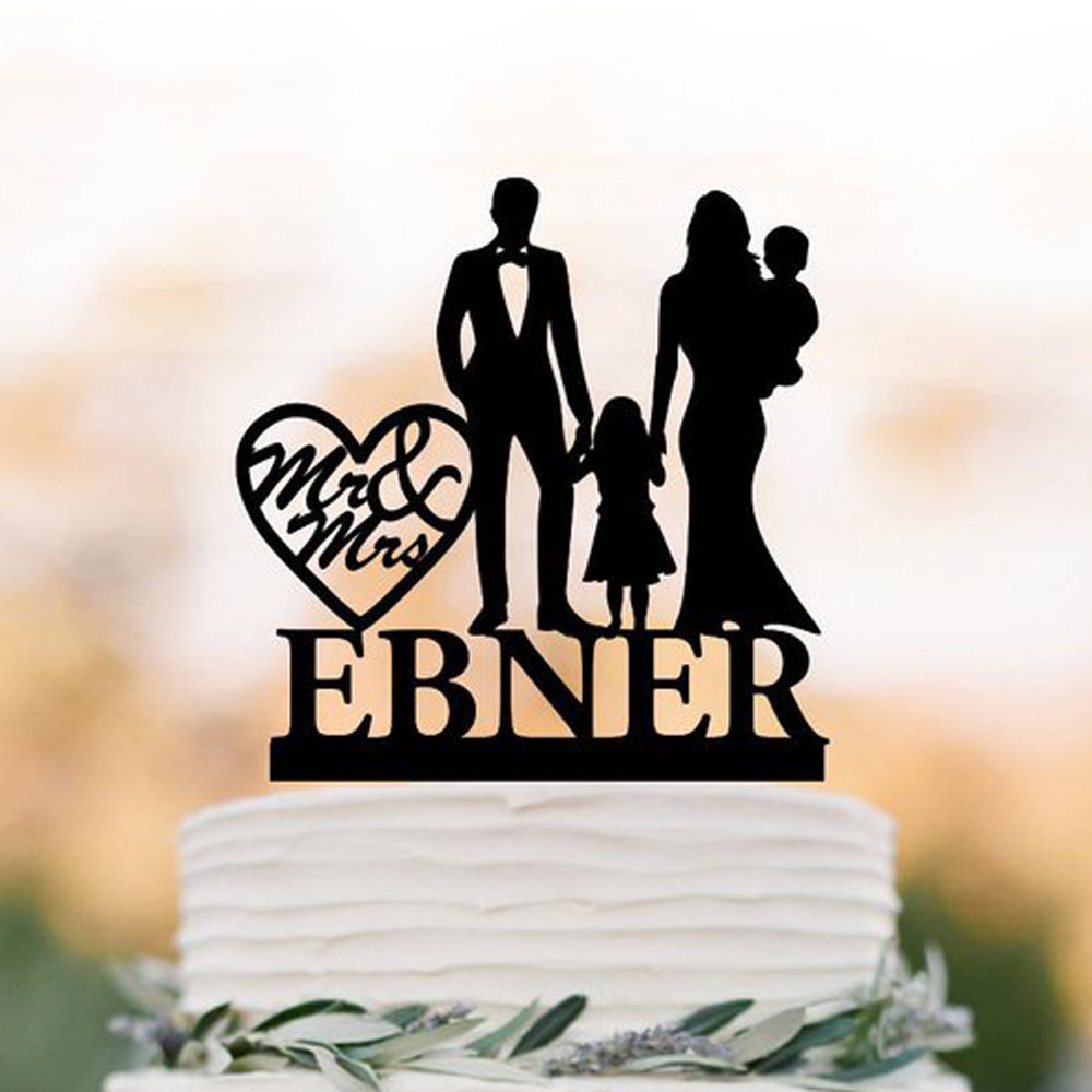 Personalized wedding cake topper with 2 childs family Wedding Cake topper with baby and toddler girl, bride & groom silhouettePersonalized wedding cake topper with 2 childs family Wedding Cake topper with baby and toddler girl, bride & groom silhouette