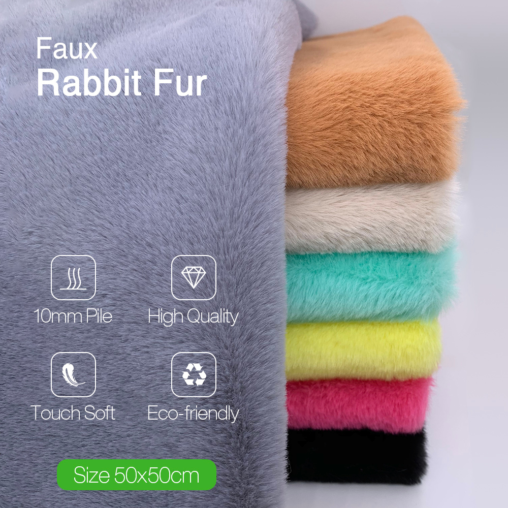 1Pcs 50x50cm Faux Rabbit Fur Fabric 100% Polyester 10mm Pile Super Soft Plush Fabric For Handmade Stuffed Toys Sewing Fabric