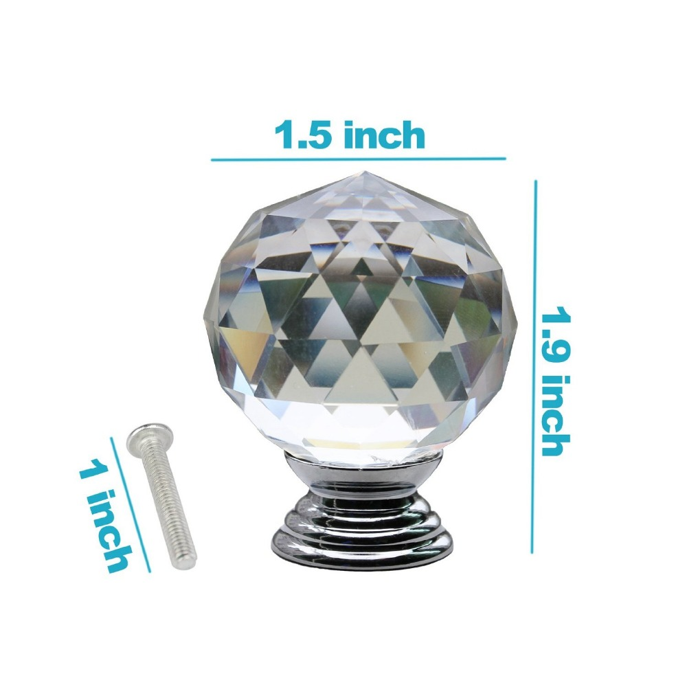 High Quality 1PC 30mm Crystal Glass Clear Cupboard Door Drawer Knobs Diamond Shape Cabinet Drawer Kitchen Pull Handle Cabinet 8x clear crystal glass clear cut door knobs 30mm drawer cabinet kitchen handle