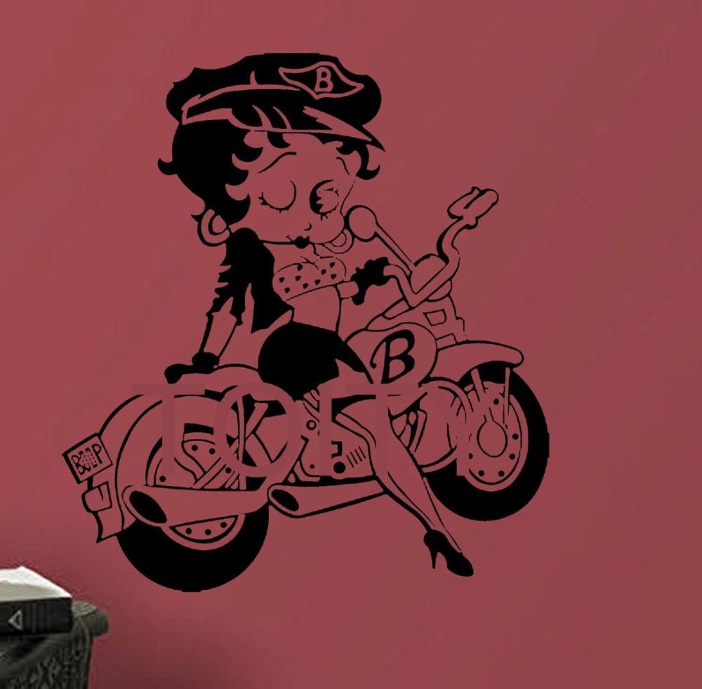 Betty Boop Wall Sticker Motorbike Chick Cartoon Vinyl