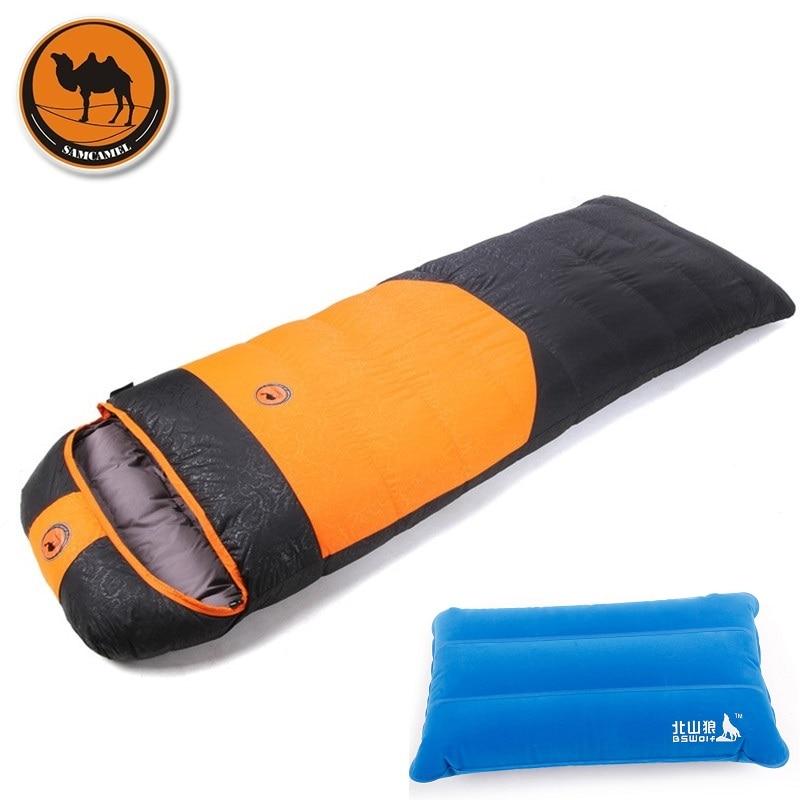 Camcel Ultralight Camping Sleeping Bag Winter White Duck Down Sleeping bag Camping1500/1700+Inflatable Pillow Travel Pillow 3 in 1 inflatable pillow sleeping eyeshade earplug travel set random color