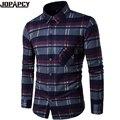 Outono de Veludo Grosso Homens Camisa Xadrez Turn-down Collar Único Breasted Business Casual Masculino Blusa de Algodão Camisa Masculina MXB0324