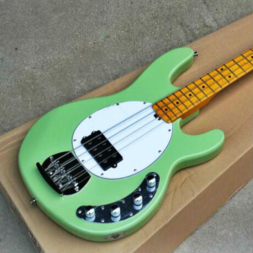 Top qualità FDMB 7011 verde chiaro di colore solido di colore del corpo bianco piastra di acero tastiera in 4 corde attivo Musicman Basso, Trasporto libero - 5