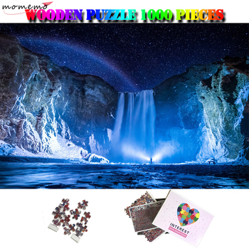MOMEMO Skogafoss Iceland 1000 Pieces Beautiful Landscape Puzzle Wooden Adult Natural Scenery Starry Night Jigsaw Puzzle Kids Toy