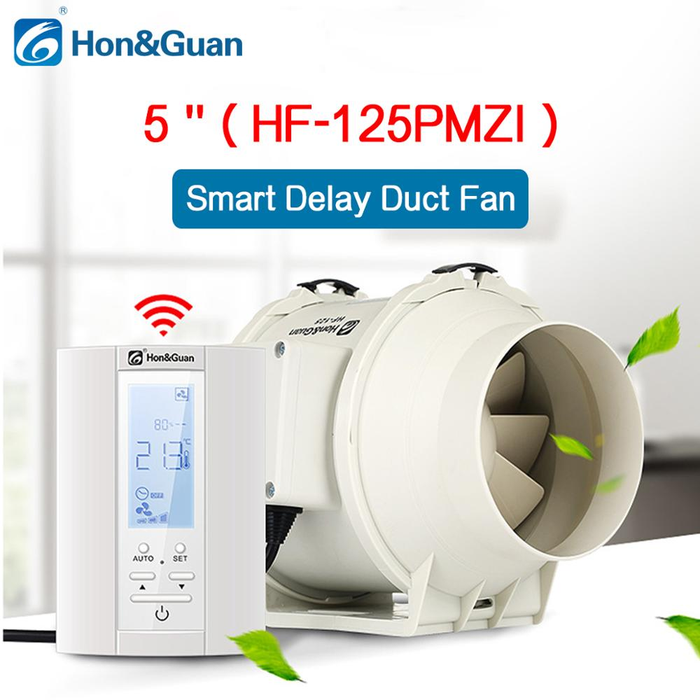 220V 5 Extractor Smart Inline Duct Fan Humidistat and Timer Bathroom Ventilation Fan with Smart Sensor