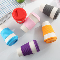 50 x Eco Friendly Bamboo Fiber White Coffee Cups with Colorful Silicone Lid & Circle Wholesale