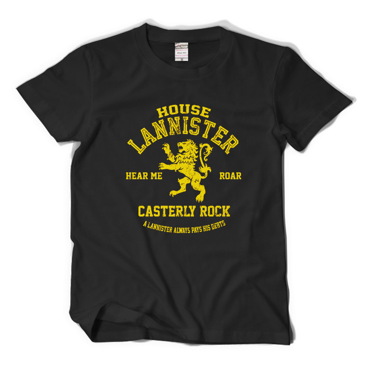 GAME OF THRONES House Lannister Gold Lions Basic Printed Tee Anime Short Sleeve T-shirt ...