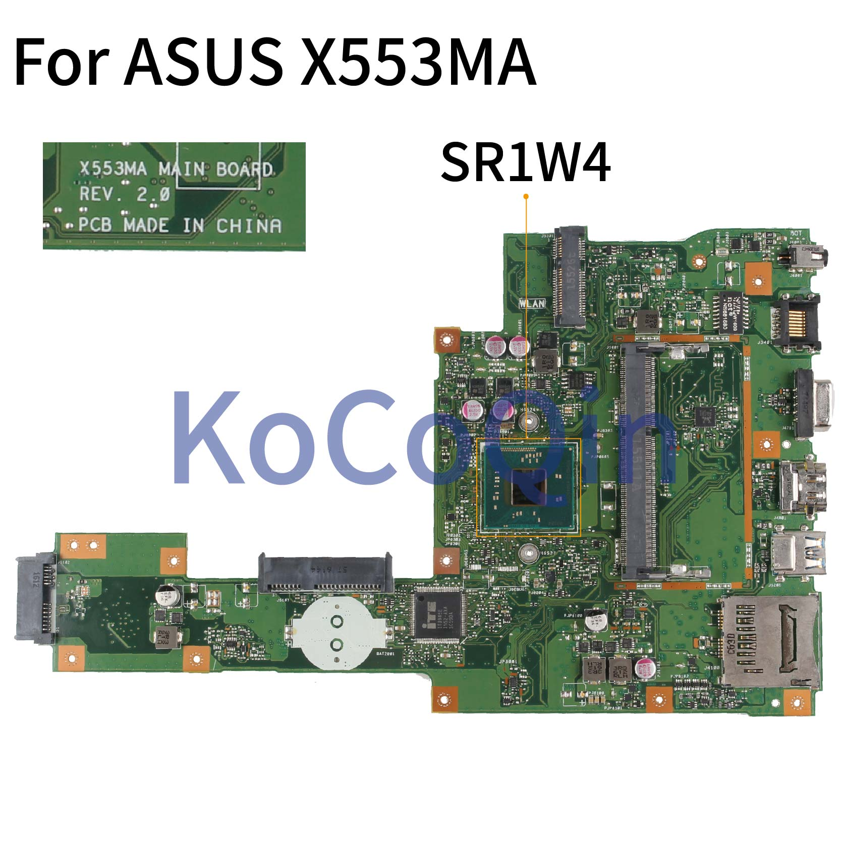 KoCoQin Laptop motherboard For ASUS A553M X503M F503M X553MA X503M X553M F553M F553MA Mainboard REV:2.0 SR1YJ image