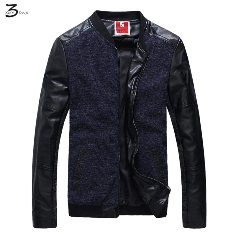 XMY3DWX men fashion brand high-end business leisure Personality design standing collar splicing thin leather jacket coat/S-5XL