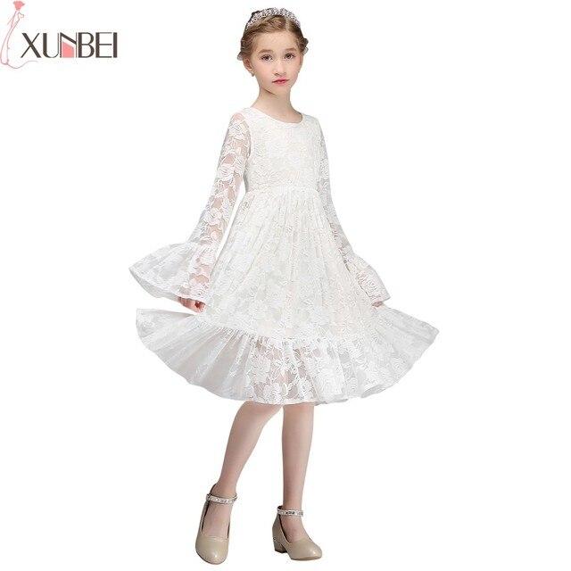 במלאי הברך אורך תחרה פרח ילדה שמלות 2019 O-צוואר הקודש שמלות ילדה תחרות שמלת ארוך אבוקה שרוולים bloemenmeisje