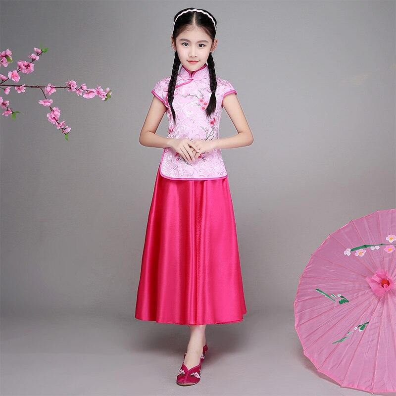 Children's cheongsam summer girls Chinese style princess dress girls cheongsam big children embroidery Tang costumes May 4 cloth