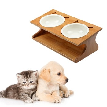 Pet Dog cat Feeders Ceramic Dog Bowls Wood Rack Double Bowl Lovely Pet Food Water Drink Dishes Feeder