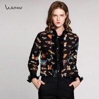 2018 Newest Fashion Design Women Shirt Black Butterfly Floral Print Sleeve Ruffles Plus Size XXL XXXL womens tops and blouses