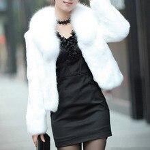 Long fur women white fake fur coat jackets female faux fox fur outwear winter fashion simple overcoat long sleeve pelliccia