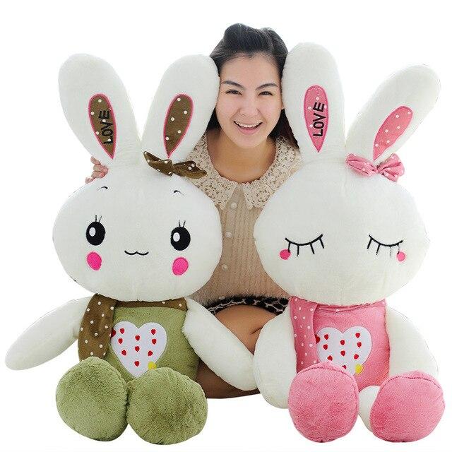 80cm Cute Rabbit Plush Toys For Lover Friends Children Birthday Festival Gift Doll Adorable Pink Green Rabbit Stuffed Dolls