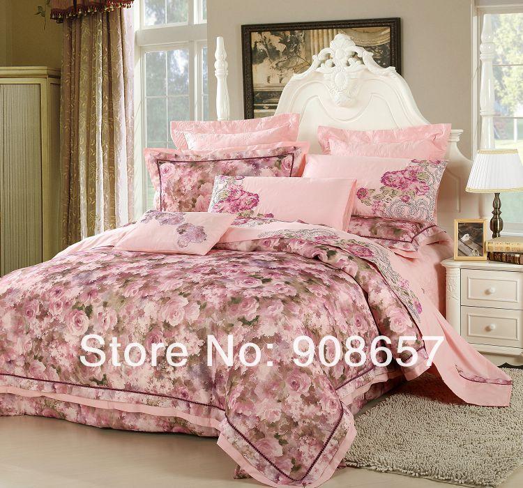 romantique rose fleur luxueux reine ensemble de literie 10 pcs lit dans un sac set piqu - Housse De Couette Romantique Rose