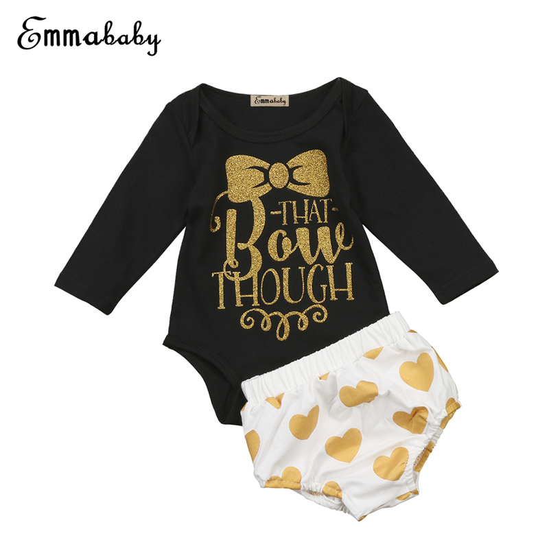 Cute Baby Girl Cotton Clothing Set Newborn Baby Girl Long Sleeve Top Romper+Short Pants 2017 New Autumn Hot Bebes Girls Clothes ...