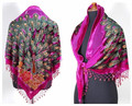 Hot Pink Women's Triangle Velvet Silk Beaded Embroidery Shawl Scarf Peafowl Free Shipping WS-073