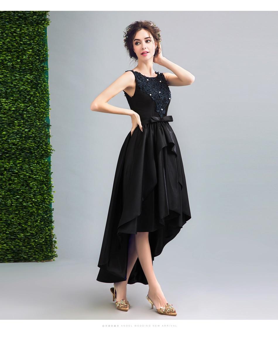 Short Front Long Back Hi Low Black Prom Dress with Lace Appliques ...