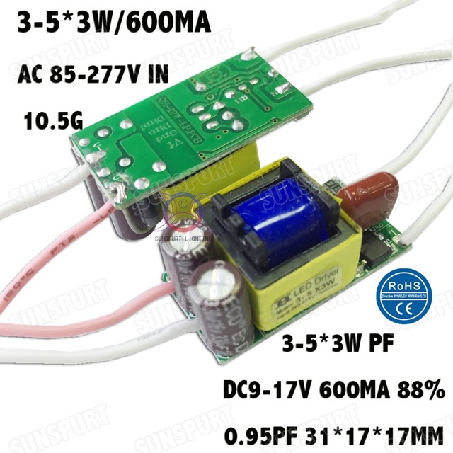 5 Pieces Isolation 12W AC85-277V LED Driver 3-5x3W 600mA DC9-17V  LED Power Supply Constant Current LED Bulb Lamp Free Shipping