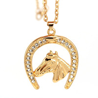 hzew Horseshoe crystal and horse gold color pendant necklace horse gift