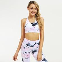 2019 Summer Women Sportwear Flower-print Yoga Set 2 Pieces Fitness Tops & Yoga Pants Sport Fitness Suit Gym Workout Set Female 2016 3 pieces women fitness yoga set jacket