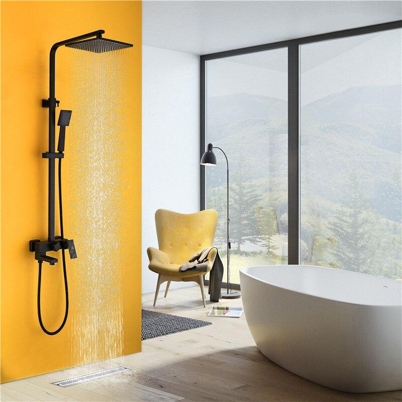 Ensemble de douche de douche à peinture carrée noire haute pression tête de douche à trois fonctions avec système de douche mural sparyer YU11H