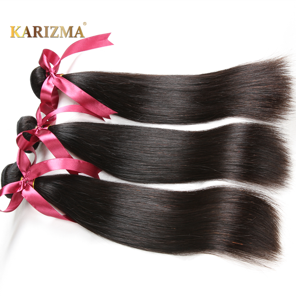 Karizma Braziliaanse Steil Haar Bundels 100% Human Hair Weave Natuurlijke zwart Haarverlenging Kan Geverfd En Gebleekt Niet Remy 1 ST