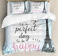 Eiffels Tower Декор постельное белье Perfect Day Eiffels башня горошек почерк типографии эскиз печати Париж Постельное белье
