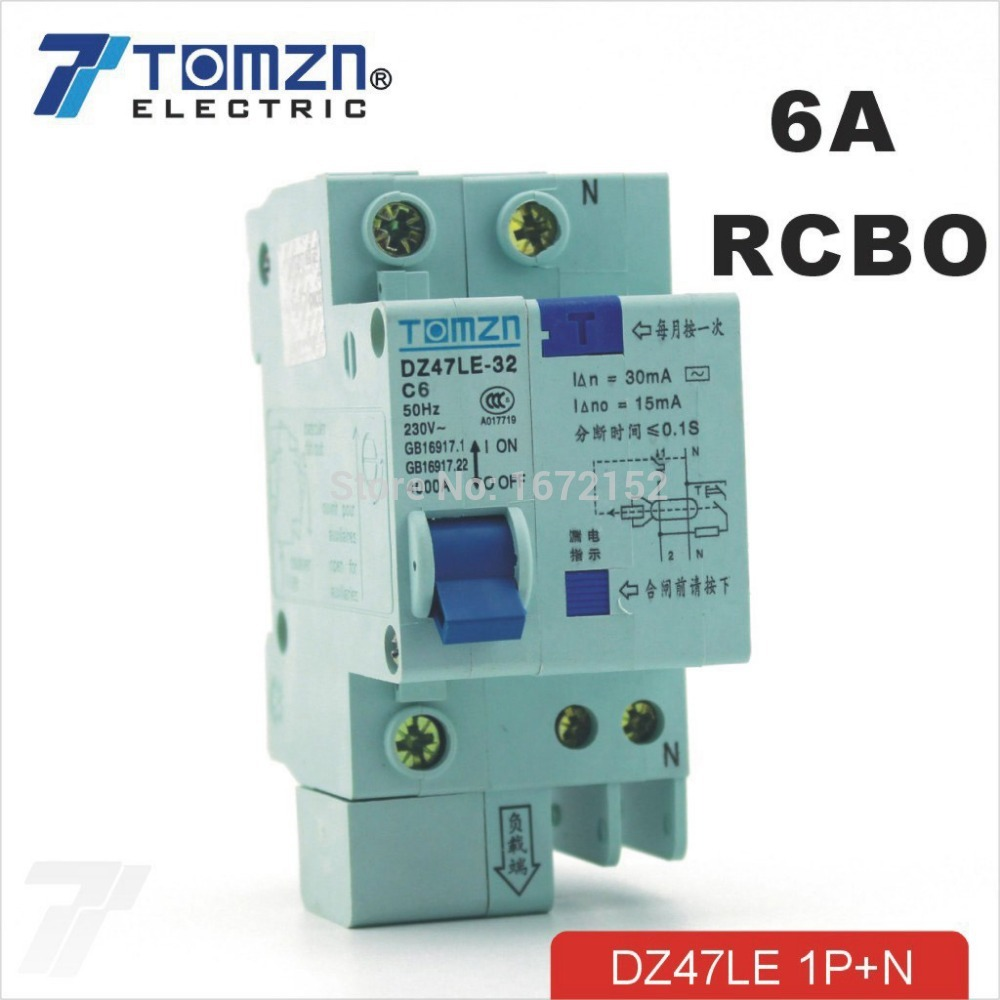 DZ47LE 1P+N 6A C type 230V~ 50HZ/60HZ Residual current Circuit breaker with over current and Leakage protection RCBO dz47le 3p n 63a 400v 50hz 60hz residual current circuit breaker with over current and leakage protection rcbo