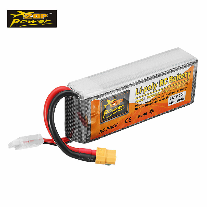 High Quality ZOP Power 11.1V 6500mAh 30C 3S XT60 Plug Rechargeable Lipo Battery RC Quadcopter Car Models Spare Parts Accessories