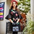 Original 2016 Brand Robe Femme Autumn Winter Plus Size Slim Waist Elegant Casual Flare Sleeve Short Black Dresses Wholesale