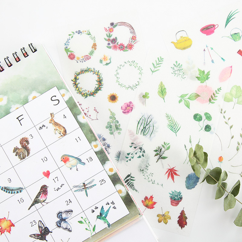 6 Sheets/lot Watercolor Spring Fresh Plants Decorative Washi Stickers Scrapbooking Stick Label Diary Stationery Album Stickers