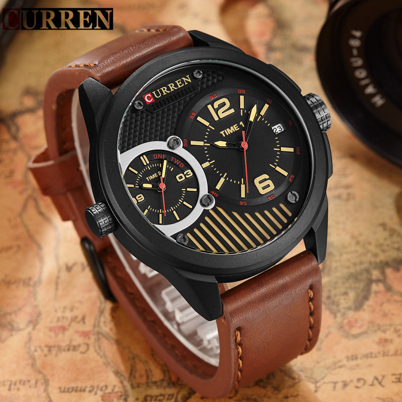 Curren Watches Men Brand Luxury Quartz Watch Mens Classic Sport Clock Waterproof Leather Strap Male Wristwatch Relogio Masculino hongc watch men quartz mens watches top brand luxury casual sports wristwatch leather strap male clock men relogio masculino