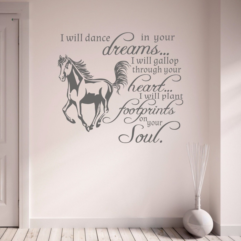 Vinyl Art Removable Wall Sticker Horse Pony I Will Gallop Through Your Heart Dreams Room Decoration Cute Animal W361 in Wall Stickers from Home Garden