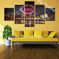 New Arrival 5 Pieces Wall Art Painting Canvas Painting About Beautiful City Night Scene Painting Modern