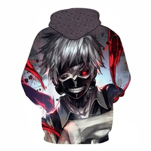 New Fashion Sweatshirts Men/women Tracksuits Tops Print Hooded Anime Tokyo Ghoul Kaneki Ken Hoodies Thin Autumn Sweatshirts