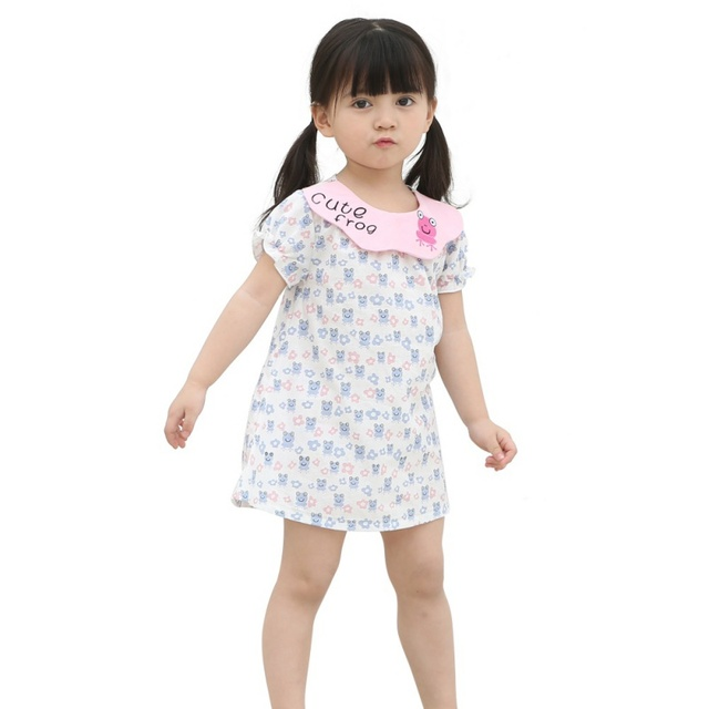 new style summer baby girl dress frog dress and a line pattern