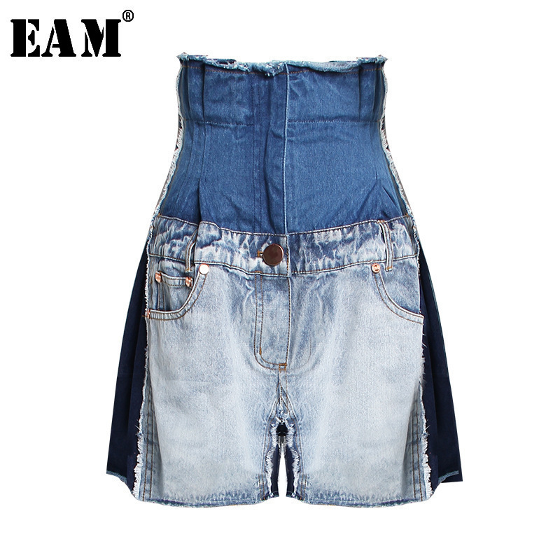 [EAM] 2020 New Spring Summer High Waist Hit Color Personality Tassels Loose Wide Leg Jeans Women Trousers Fashion Tide JR842