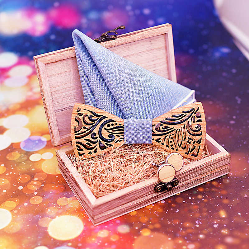 Cortar Madeira De Madeira Arco Laços para Homens gravatas Bowtie presente Artesanal de Madeira da Borboleta Bow Tie Gravata Conjunto Abotoadura lenço