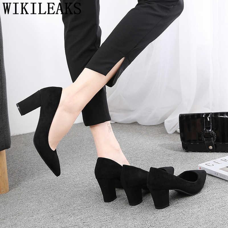 Tacco di spessore delle donne pattini di vestito ufficio scarpe da donna nero degli alti talloni sexy delle pompe delle donne scarpe fetish tacchi alti chaussures femme buty