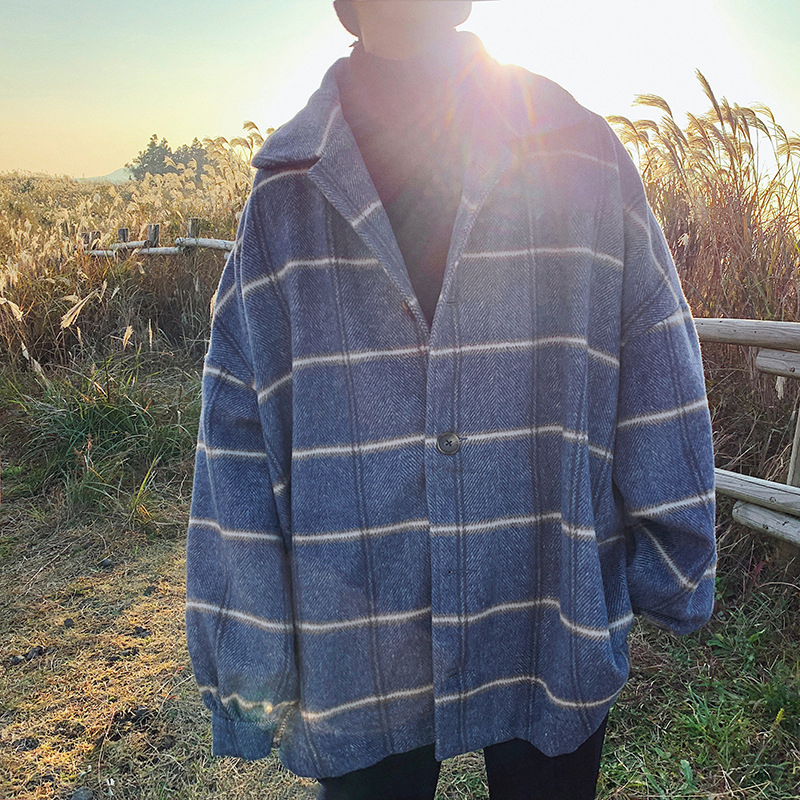 Men's Jacket Windbreaker Fashion Casual Vintage Plaid Lapel Loose Single-Breasted Casual Long Sleeve Long Cardigan For Men(China)
