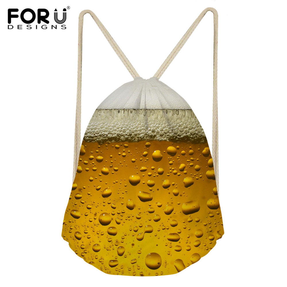 FORUDESIGNS Cool 3D Beer Pattern Daily String Backpack Fashion Small Drawstring Bag Ladies Travel Shoes Sack Bag Children Kids