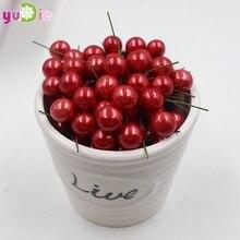 40 шт./лот мини Поддельные пластик фрукты маленькие ягоды искусственный цветок Cherry тычинки перламутровые Свадебные Рождество декоративные