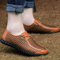 Hot Sales Real Genuine Leather Men Mesh Shoes Summer Flat Mens Plus Size 38-44 TOP Quality Shoes Super Light